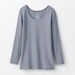 あったかインナー・綿混長袖レディース(チャコール×サックス)