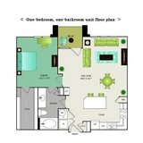One-bedroom, one-bathroom unit floor plan