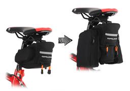 荷物の量に応じて最大3Lまで拡張可能、携行食を沢山入れられる「エクステンションサドルバッグ」を発売。