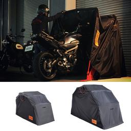 """停車後10秒でバイクや自転車を格納できる""""俺専用""""簡易ガレージ「ストレージバイクシェルター2」を発売。"""