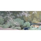 KAWAI Gyokudo, Parting Spring, 1916, a pair of six-fold screens, Important Cultural Property