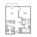 One bedroom/one bathroom floor plan