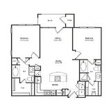 Two bedroom/two bathroom floor plan